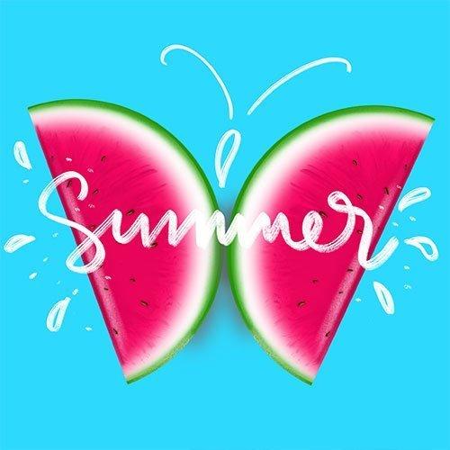 Butterfly melon art